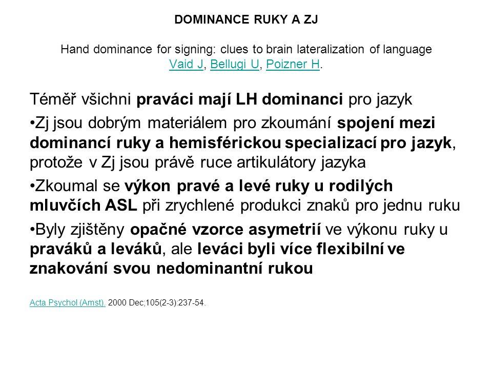 Téměř všichni praváci mají LH dominanci pro jazyk