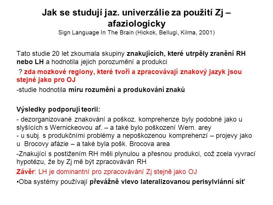 Jak se studují jaz. univerzálie za použití Zj – afaziologicky Sign Language In The Brain (Hickok, Bellugi, Kilma, 2001)