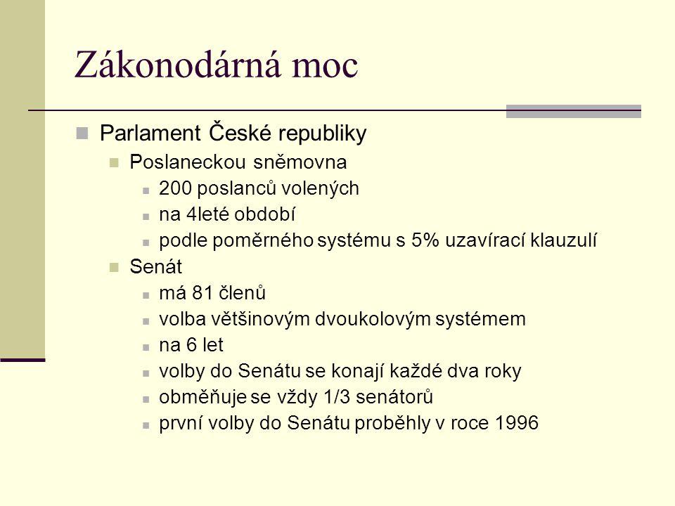 Zákonodárná moc Parlament České republiky Poslaneckou sněmovna Senát