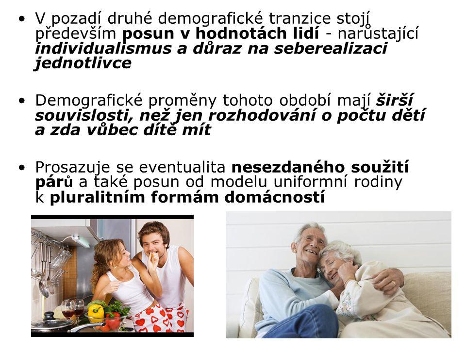 V pozadí druhé demografické tranzice stojí především posun v hodnotách lidí - narůstající individualismus a důraz na seberealizaci jednotlivce