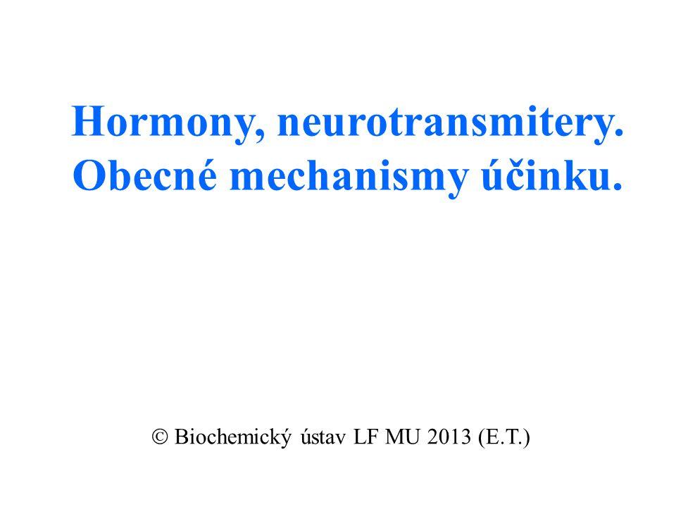 Hormony, neurotransmitery. Obecné mechanismy účinku.