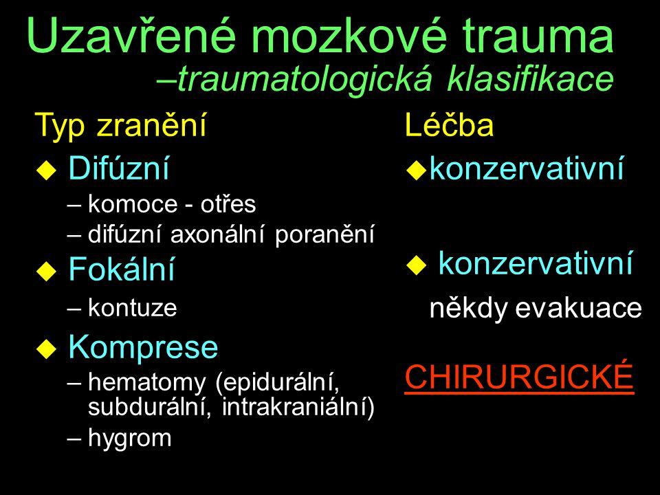 Uzavřené mozkové trauma –traumatologická klasifikace