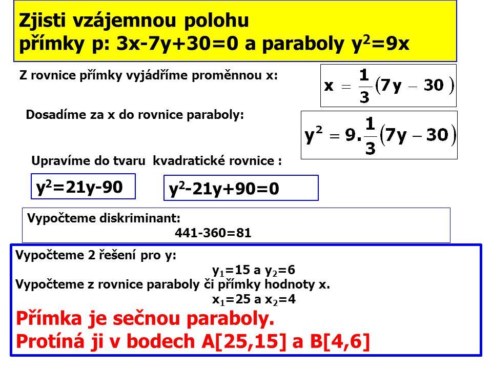 Zjisti vzájemnou polohu přímky p: 3x-7y+30=0 a paraboly y2=9x