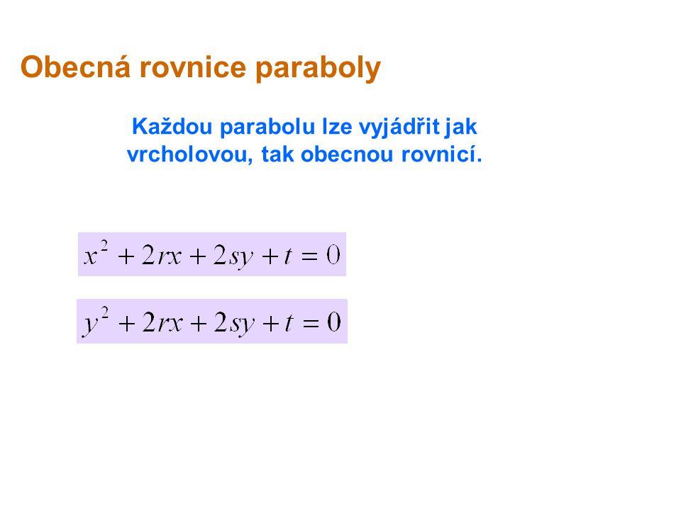 Každou parabolu lze vyjádřit jak vrcholovou, tak obecnou rovnicí.