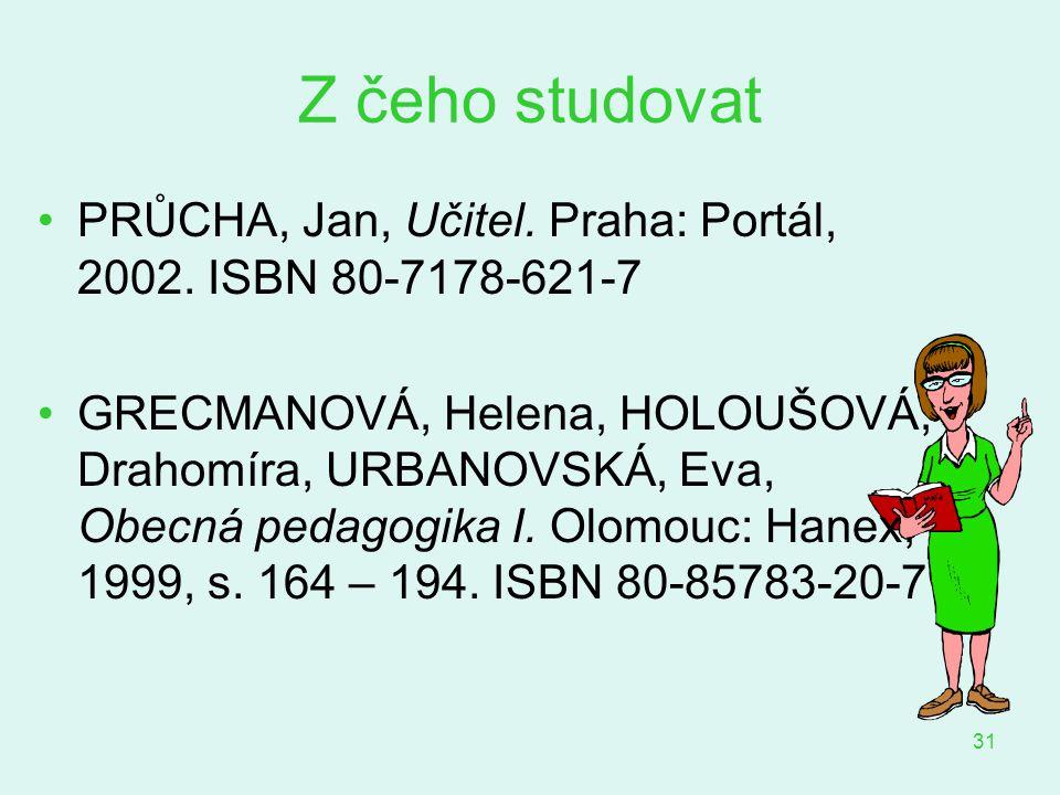 Z čeho studovat PRŮCHA, Jan, Učitel. Praha: Portál, 2002. ISBN 80-7178-621-7.