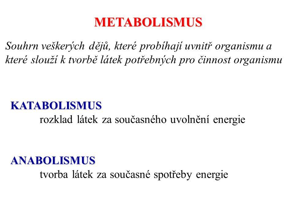 METABOLISMUS Souhrn veškerých dějů, které probíhají uvnitř organismu a které slouží k tvorbě látek potřebných pro činnost organismu.