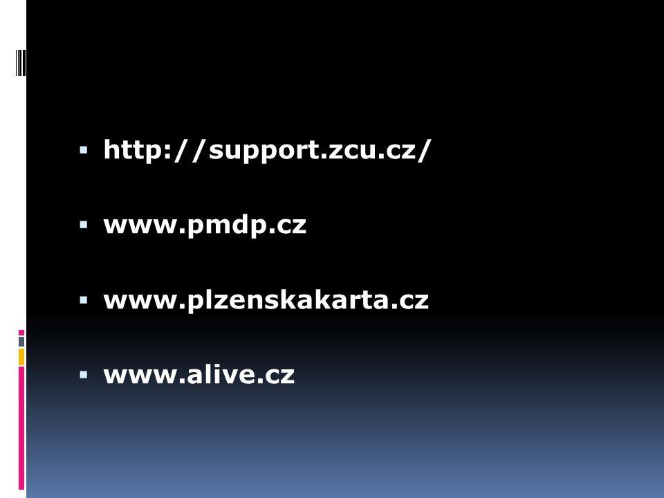 http://support.zcu.cz/ www.pmdp.cz www.plzenskakarta.cz www.alive.cz
