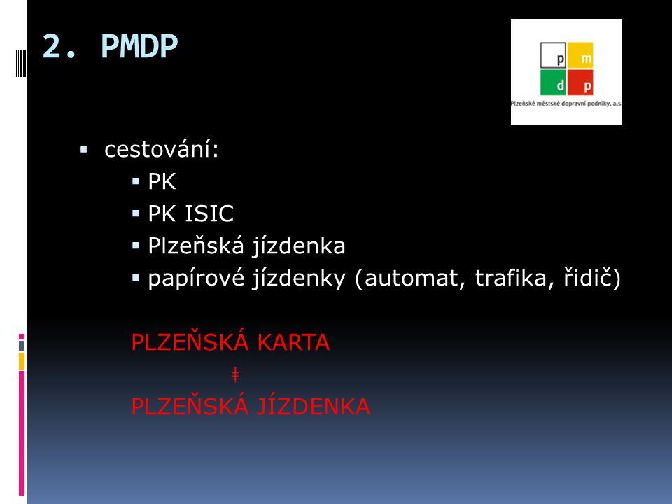 2. PMDP cestování: PK PK ISIC Plzeňská jízdenka