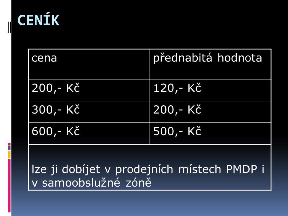 CENÍK cena přednabitá hodnota 200,- Kč 120,- Kč 300,- Kč 600,- Kč