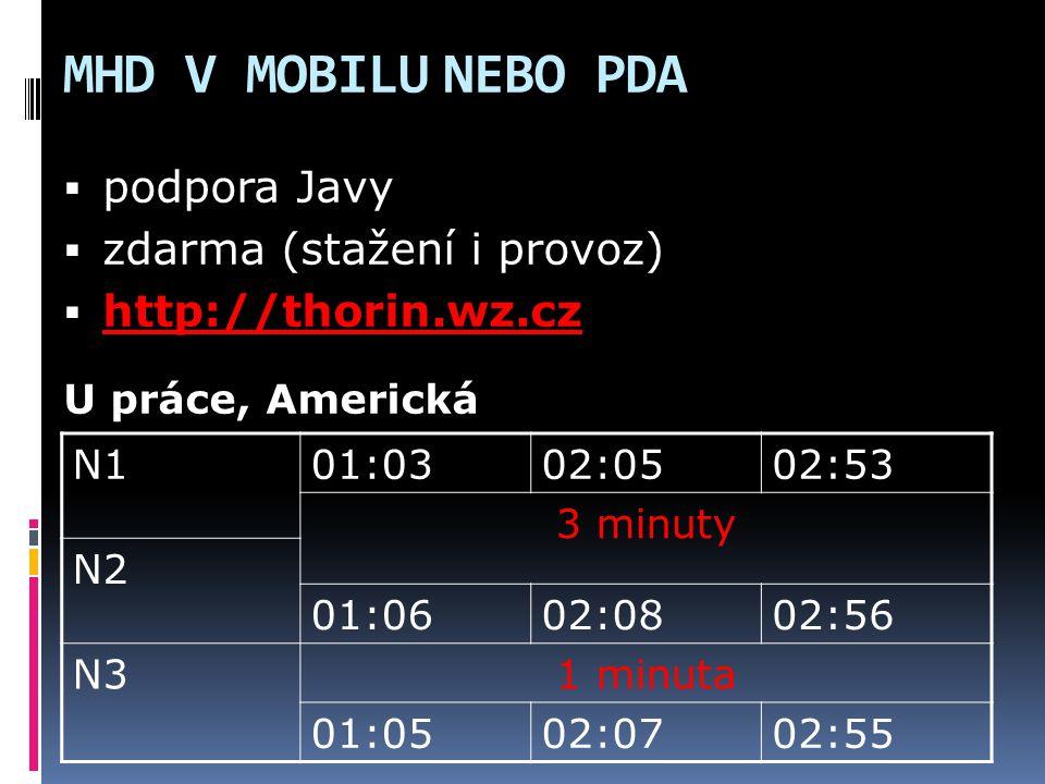 MHD V MOBILU NEBO PDA podpora Javy zdarma (stažení i provoz)
