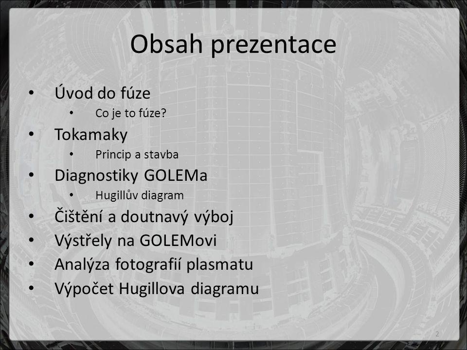 Obsah prezentace Úvod do fúze Tokamaky Diagnostiky GOLEMa