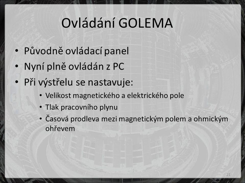 Ovládání GOLEMA Původně ovládací panel Nyní plně ovládán z PC