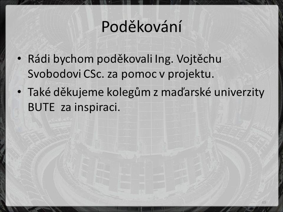 Poděkování Rádi bychom poděkovali Ing. Vojtěchu Svobodovi CSc.
