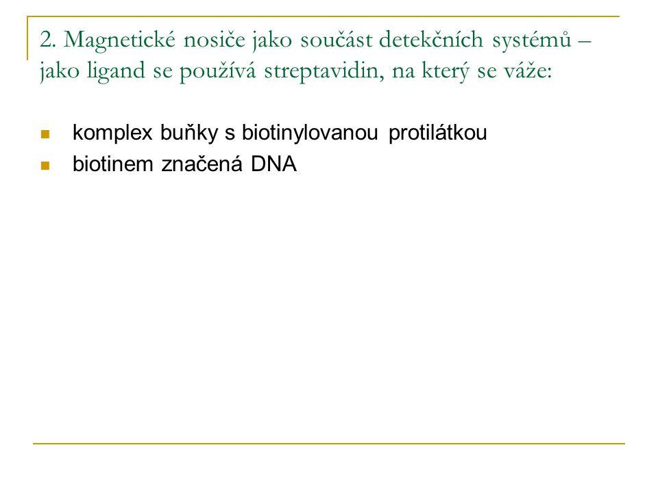 2. Magnetické nosiče jako součást detekčních systémů – jako ligand se používá streptavidin, na který se váže:
