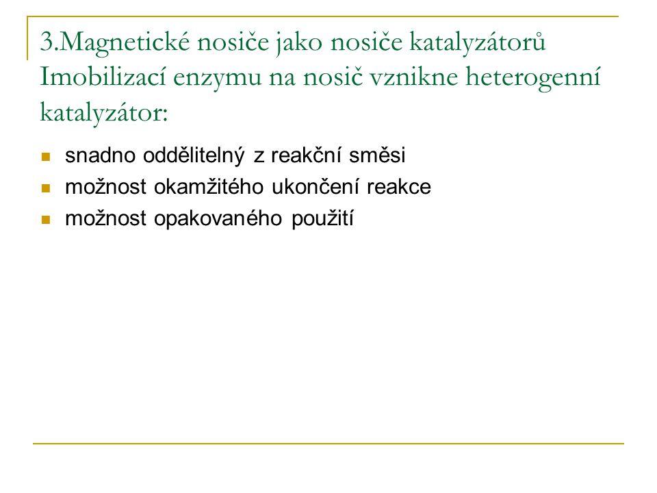 3.Magnetické nosiče jako nosiče katalyzátorů Imobilizací enzymu na nosič vznikne heterogenní katalyzátor: