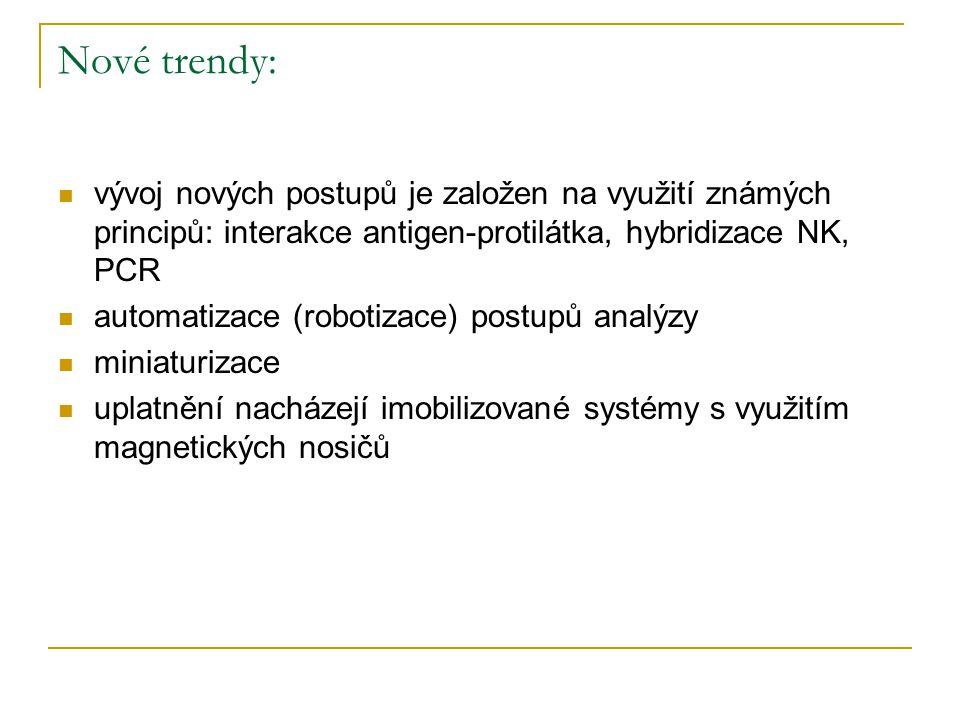 Nové trendy: vývoj nových postupů je založen na využití známých principů: interakce antigen-protilátka, hybridizace NK, PCR.
