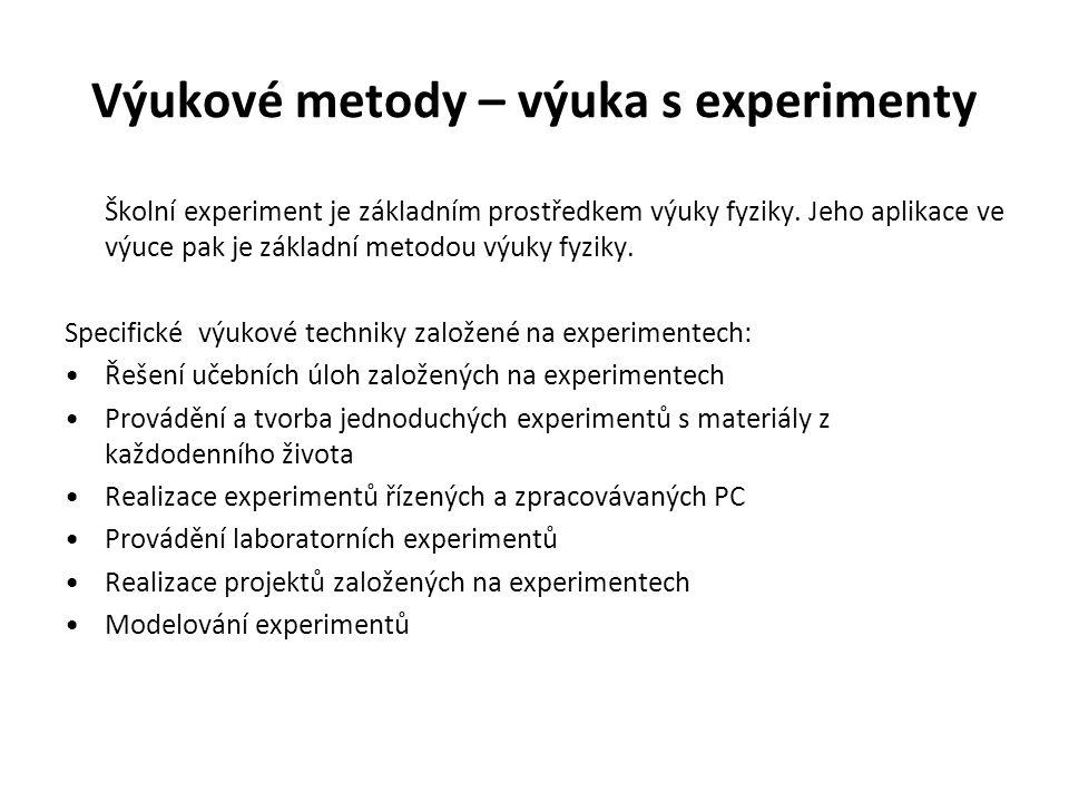 Výukové metody – výuka s experimenty