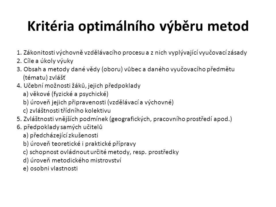 Kritéria optimálního výběru metod