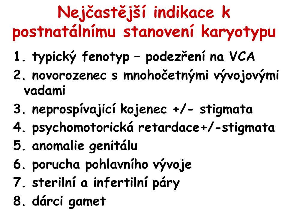 Nejčastější indikace k postnatálnímu stanovení karyotypu