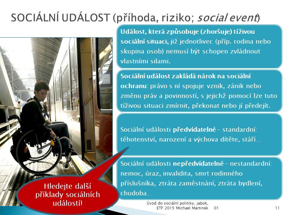 SOCIÁLNÍ UDÁLOST (příhoda, riziko; social event)