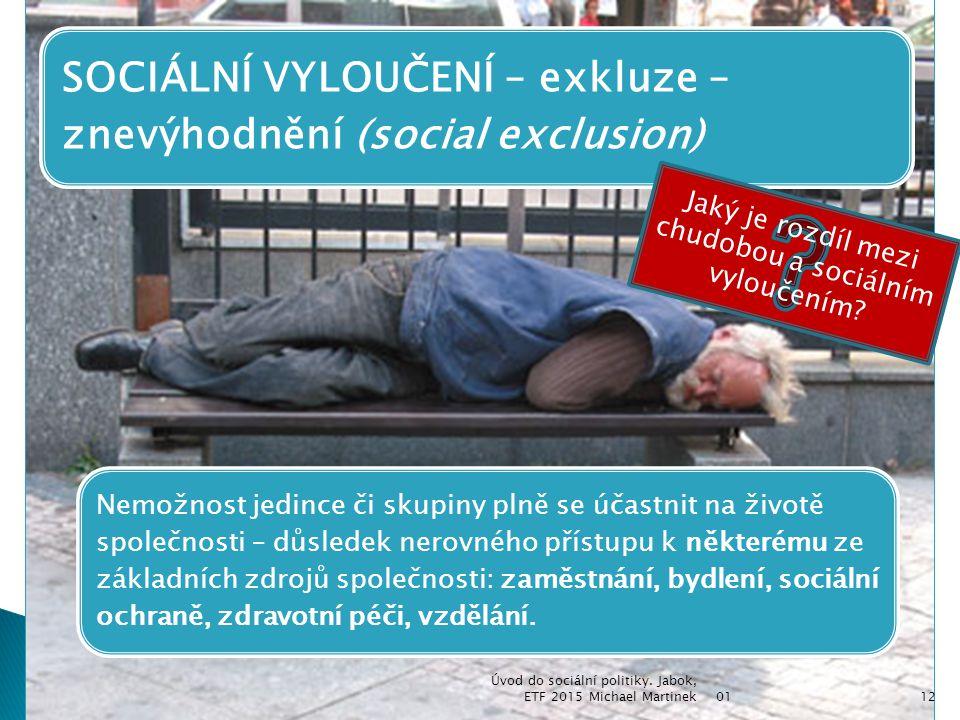 Jaký je rozdíl mezi chudobou a sociálním vyloučením