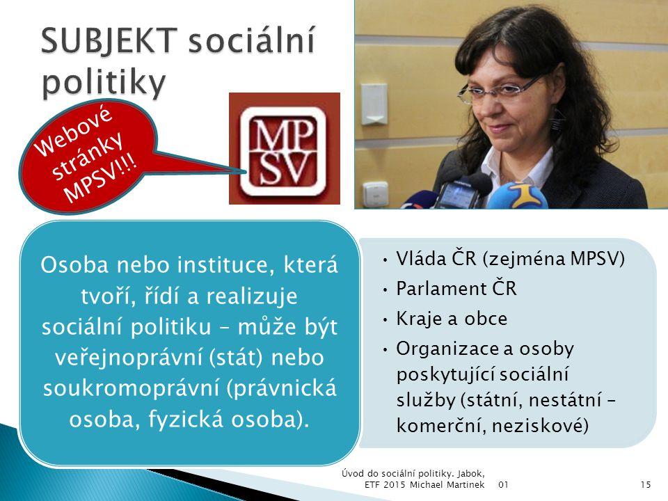 SUBJEKT sociální politiky
