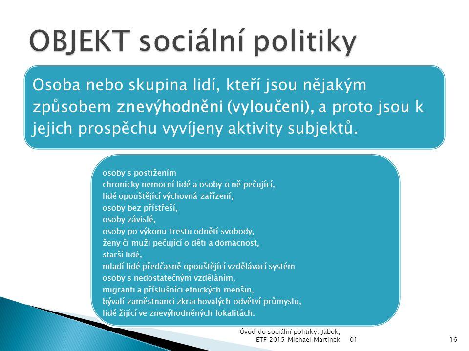 OBJEKT sociální politiky