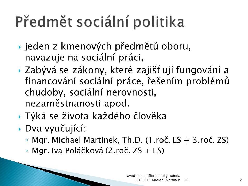 Předmět sociální politika