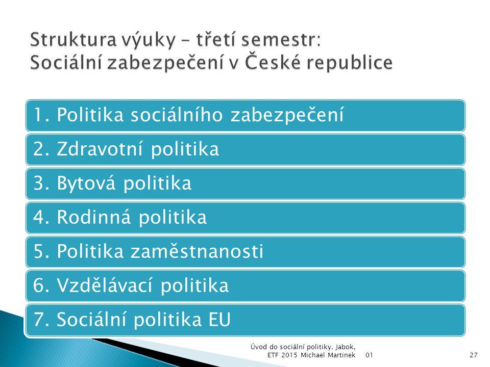 1. Politika sociálního zabezpečení