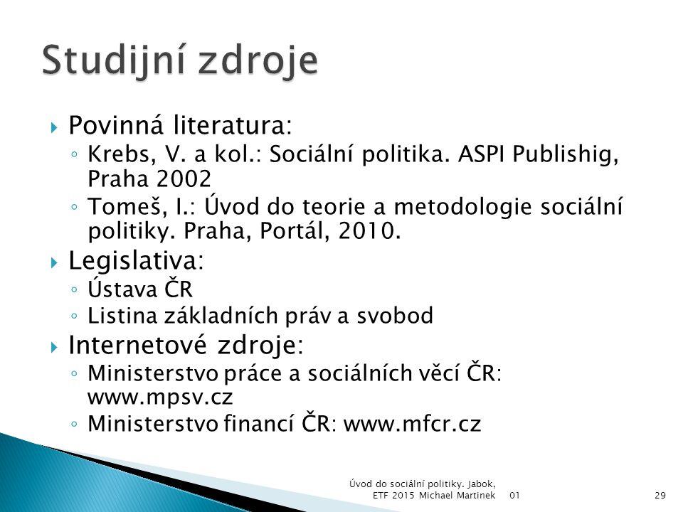 Studijní zdroje Povinná literatura: Legislativa: Internetové zdroje: