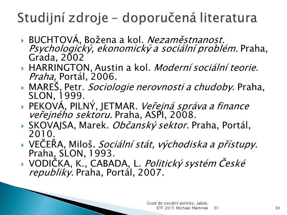 Studijní zdroje – doporučená literatura