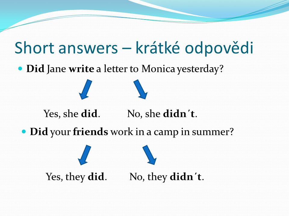 Short answers – krátké odpovědi