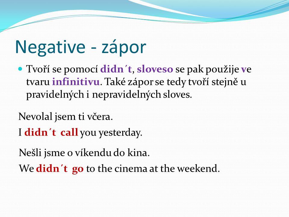 Negative - zápor