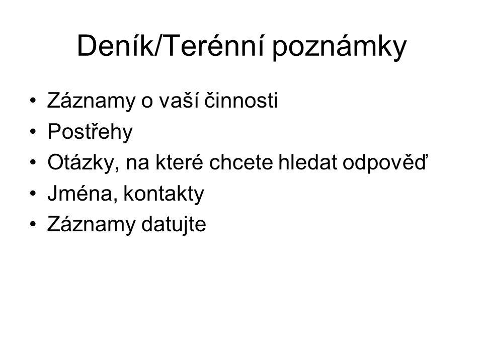 Deník/Terénní poznámky