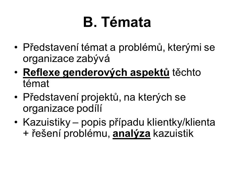 B. Témata Představení témat a problémů, kterými se organizace zabývá