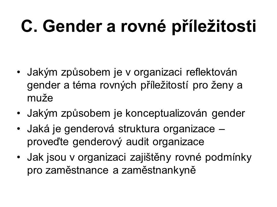 C. Gender a rovné příležitosti