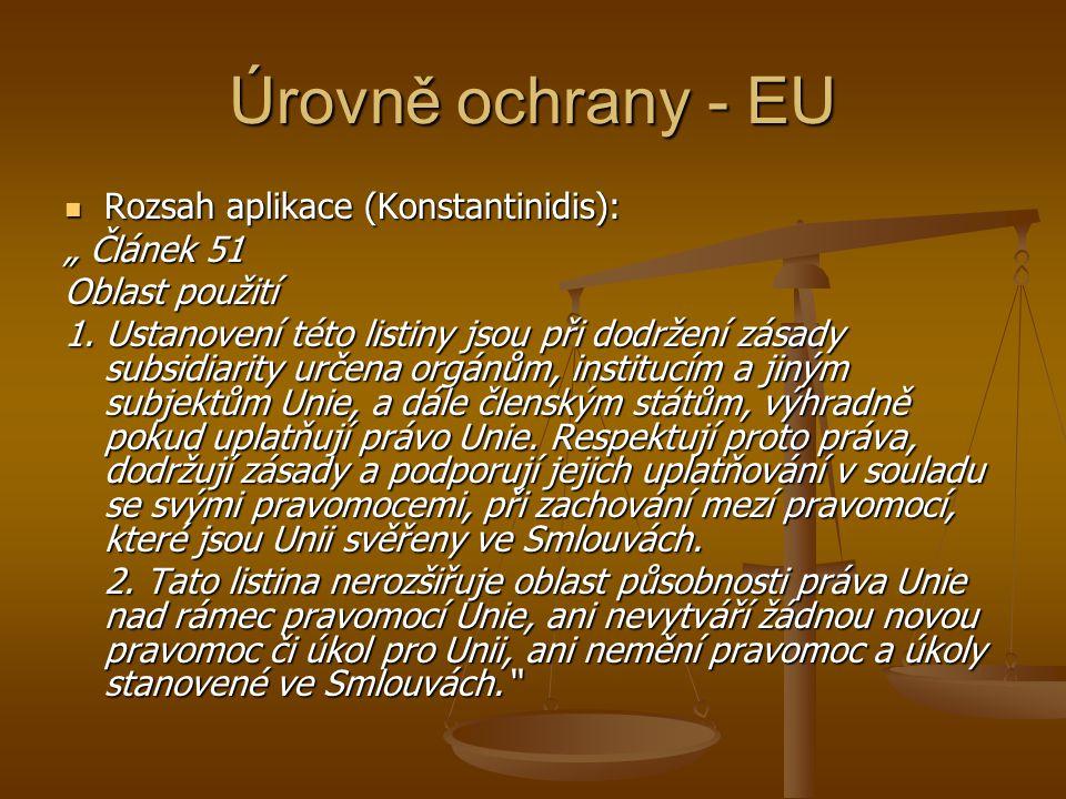 """Úrovně ochrany - EU Rozsah aplikace (Konstantinidis): """" Článek 51"""