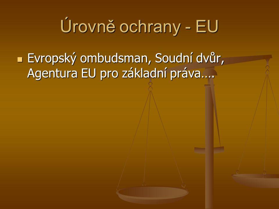 Úrovně ochrany - EU Evropský ombudsman, Soudní dvůr, Agentura EU pro základní práva….