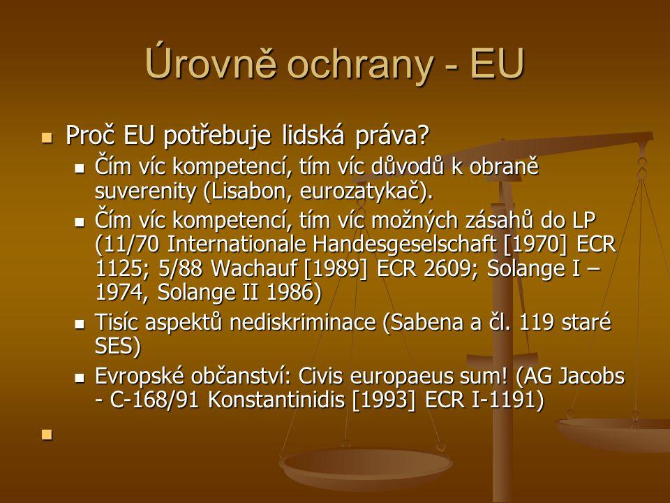Úrovně ochrany - EU Proč EU potřebuje lidská práva