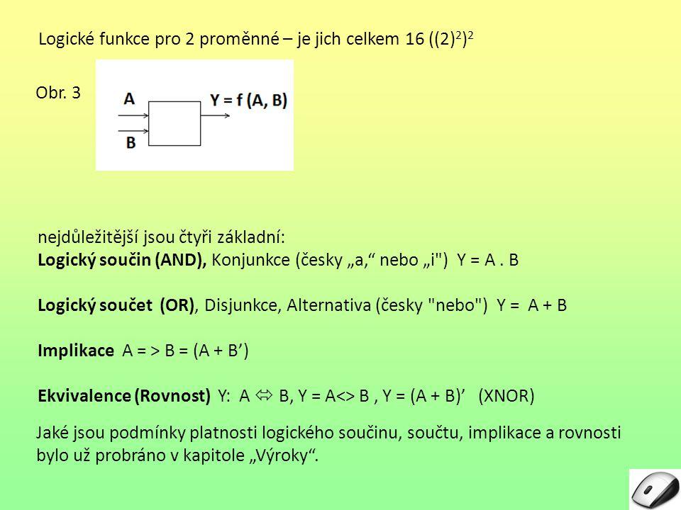 Logické funkce pro 2 proměnné – je jich celkem 16 ((2)2)2