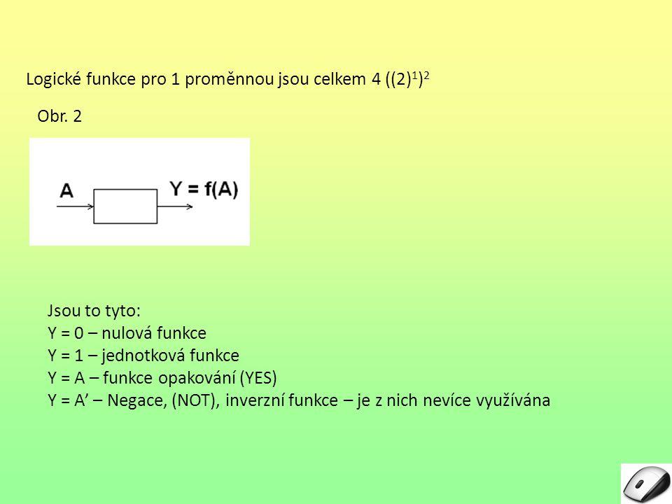 Logické funkce pro 1 proměnnou jsou celkem 4 ((2)1)2