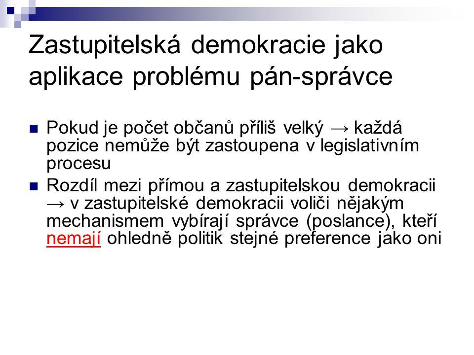 Zastupitelská demokracie jako aplikace problému pán-správce