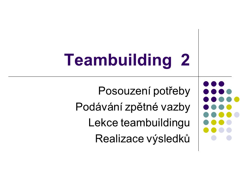 Teambuilding 2 Posouzení potřeby Podávání zpětné vazby