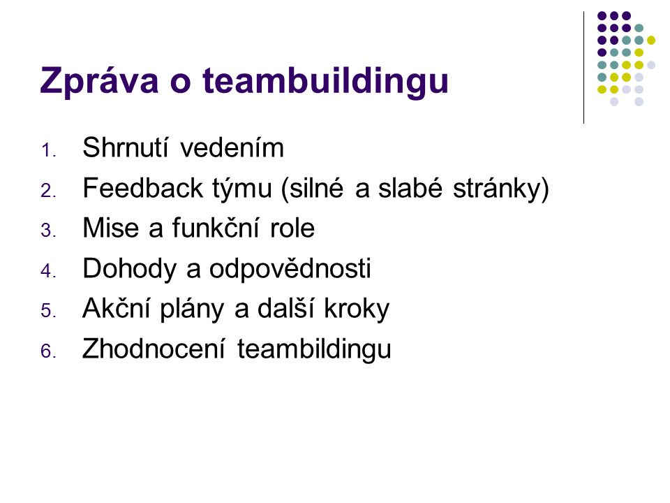 Zpráva o teambuildingu