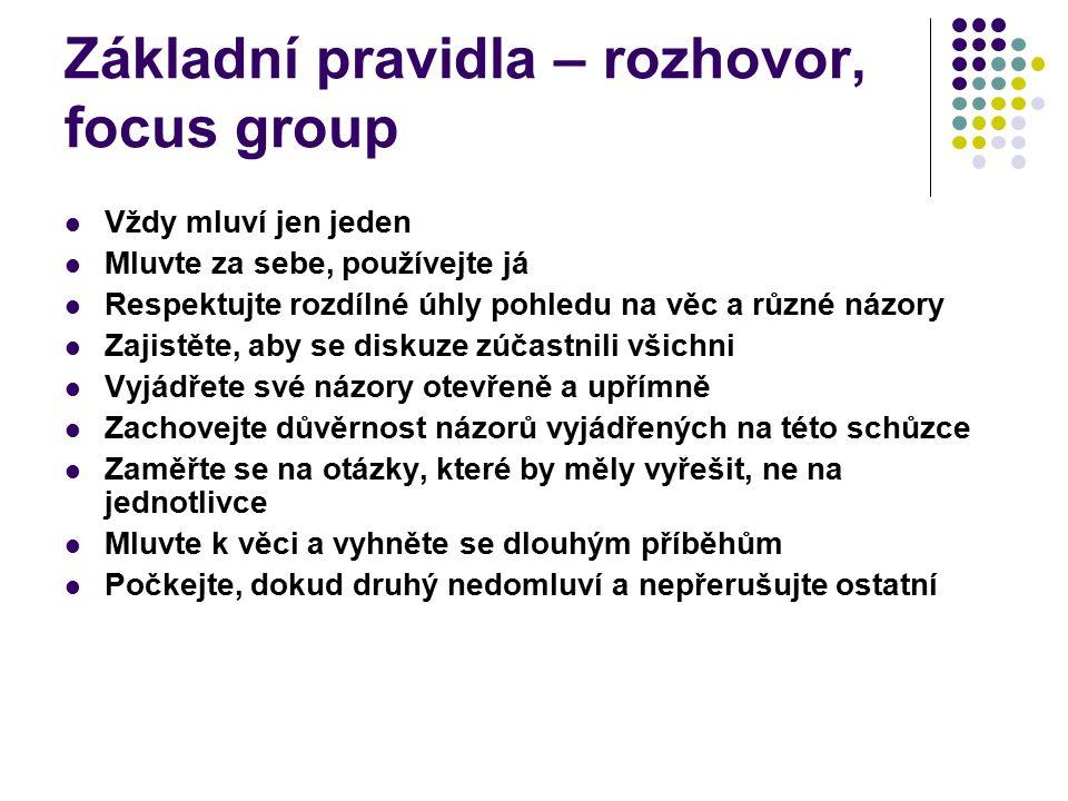 Základní pravidla – rozhovor, focus group
