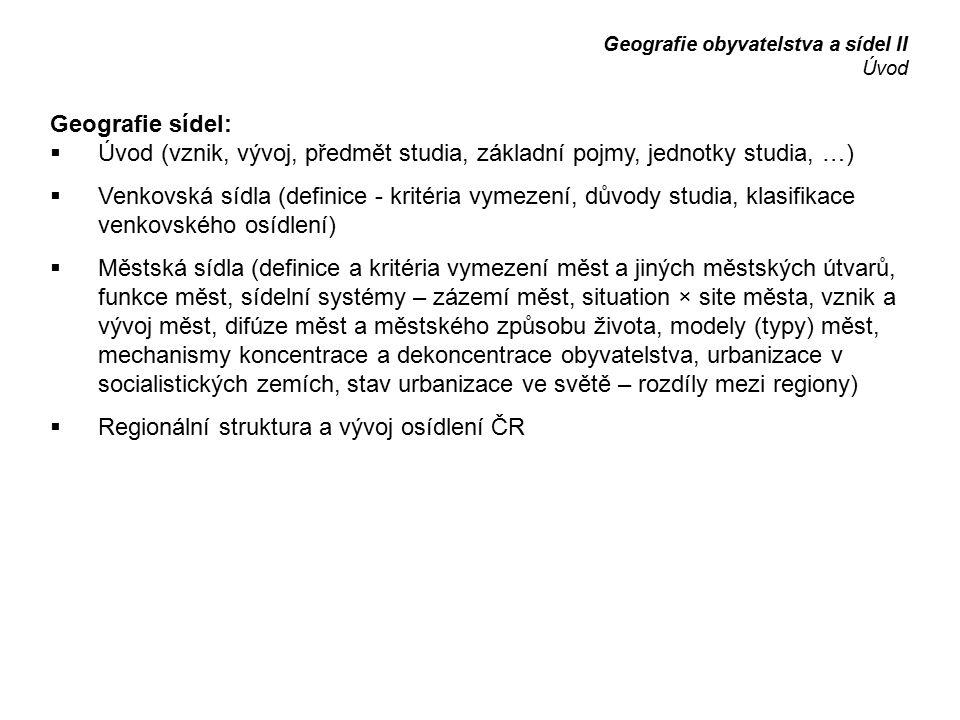 Regionální struktura a vývoj osídlení ČR