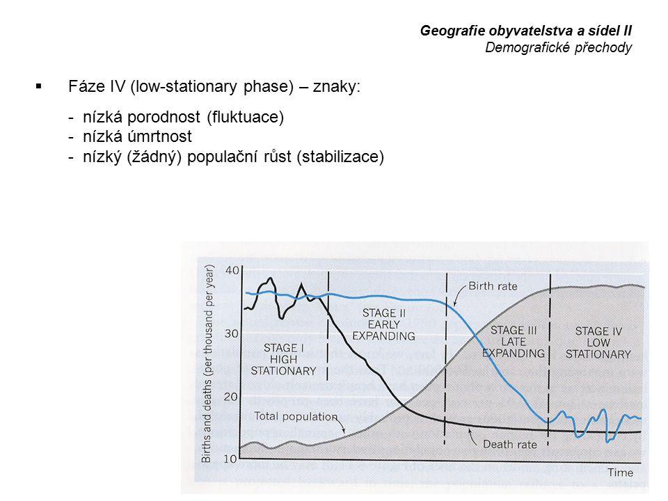 Fáze IV (low-stationary phase) – znaky: - nízká porodnost (fluktuace)