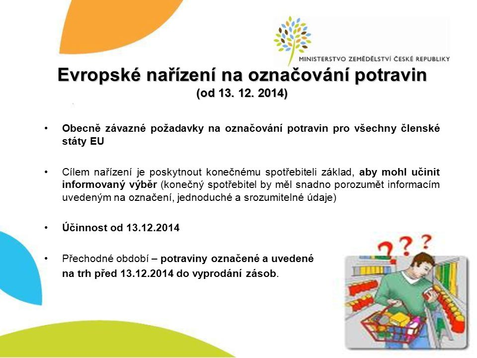 Evropské nařízení na označování potravin (od 13. 12. 2014)
