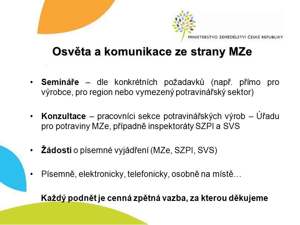 Osvěta a komunikace ze strany MZe