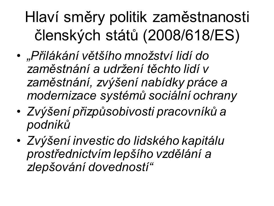 Hlaví směry politik zaměstnanosti členských států (2008/618/ES)